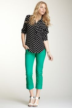 green is this season's hottest color. Love it with black polka dot shirt!
