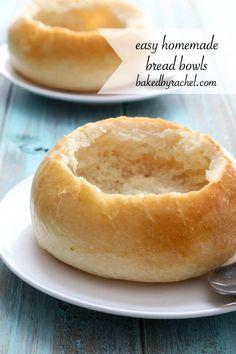 Easy homemade Italian bread bowls recipe from @bakedbyrachel
