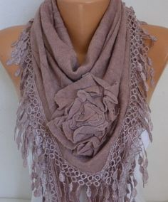 Knitted Floral Scarf Shawl Cowl Lace Bridesmaid Gift by fatwoman