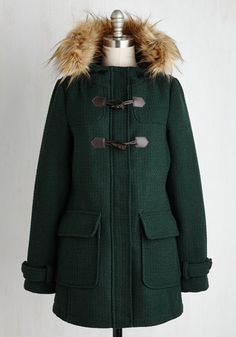 Toasty Transit Coat in Forest Green. Whether youre walking to work or catching a train to the cafe, this textured Madden Girl coat turns your trip into an entrancing adventure! #green #modcloth