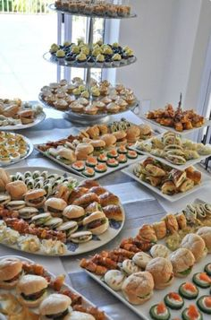 Wedding Buffet Food Party Buffet Food Set Up Food Platters Christmas Brunch Brunch Party Food Presentation Appetizers For Party Party Snacks Mini sandwiches prawn louis brioche rolls curried chicken salad on rye fingers turkey arugula and cranberry cream Appetizers Table, Appetizers For Party, Appetizer Table Display, Appetizer Buffet, Party Food Buffet, Catering Buffet, Party Food Platters, Candy Buffet Tables, Lunch Buffet