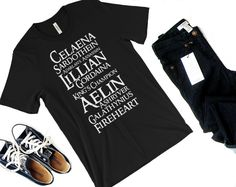 Fireheart Names Shirt-- Throne of Glass shirt, Celaena Sardothien, Aelin Galthynius, Queen of Shadows, Empire of Storms, Rowan, Sarah J Maas by VergeOfWisteria on Etsy