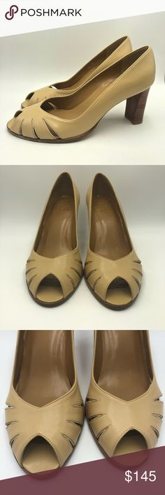 Stuart Weitzman Tan Leather Peep Toe Pumps Excellent pre owned condition. Never Worn. Super beautiful Peep toe leather pumps with cutout details. Nick on bottom of sole from storage. Tan Shoes, Shoes Heels, Leather Pumps, Tan Leather, Peep Toe Pumps, Stuart Weitzman, Kitten Heels, Best Deals, Storage