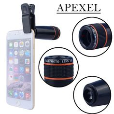 Apexel 12x Optical Zoom Telephoto Lens  for iPhone Samsung HTC Sony LG  Black #Apexel