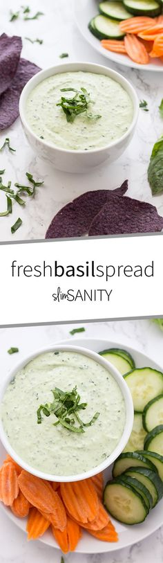 This fresh basil spread is a healthy snack choice to serve at your next party or to pack in your lunches for the week! Serve with your favorite bread, crackers or veggies. Healthy Cookie Recipes, Veggie Recipes, Healthy Snacks, Snack Recipes, Dinner Recipes, Healthy Eating, Dip Recipes, Appetizer Recipes, Recipies