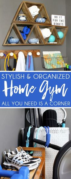 home gym Home Gym Ideas - small space, big style! Turn a corner into a mini-home gym with creative storage hacks. Tips for exercise room decor thats more spa-like than locker room! Home Gym Basement, Diy Home Gym, Gym Room At Home, Home Gym Decor, Best Home Gym, Basement Ideas, Home Gyms, Basement Storage, Closet Storage