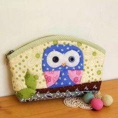 DIY Owl Pencil Case/Makeup Bag Kit Includes Pattern and Materials. $20