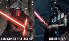 They both wear mask. Darth Vader took it off 1 time in 3 movies. Kylo Ren took it off 3 times in 1 movie. Bizarre Pictures, Best Funny Pictures, Best Love Stories, The Phantom Menace, 3 Movie, Star War 3, The Force Is Strong, Love Stars, Crazy Cats