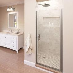 """Basco A0071-7CL Infinity 72"""" High x 34"""" Wide Hinged Framed Shower Door with Clear Glass (Bronze Finish)"""