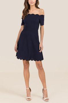 Jacquelyne Off The Shoulder Scallop Trim A-Line Dress