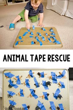 Animal Tape Rescue - A Quick And Easy Toddler Activity Taby Activity Taby Activities Easy Activity For One Year Old Baby Activity Airplane Ride Activity Animal Activity Rainy Day Activity Easy Indoor Activity From Busy Toddler Toddler Activities Daycare, Activities For One Year Olds, Montessori Activities, Toddler Fun, Infant Activities, Toddler Preschool, Outdoor Toddler Activities, Baby Learning Activities, Easy Toddler Crafts 2 Year Olds