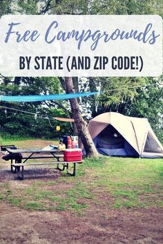 Free Campgrounds Sorted By State (and Zip Code!) - Who doesn't like camping? I think everyone I know likes to camp at least once a year. I actually go camping more like 3 or 4 times a year. The cost c(Cheap Camping Hacks) Camping And Hiking, Camping Bedarf, Camping Places, Camping Guide, Camping Checklist, Camping World, Camping Essentials, Camping With Kids, Family Camping