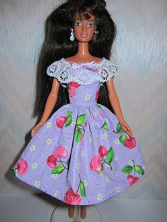 DIY Barbie Doll Stuff | Handmade Barbie clothes purple & cherry print by TheDesigningRose