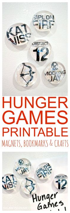 A Hunger Games printable-- perfect for DIY magnets, bookmarks and other crafts. This would be a sweet little gift to make for fans of Hunger Games.