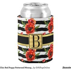 Chic Red Poppy Patterned Monogrammed Can Cooler ($6.80) ❤ liked on Polyvore featuring home, kitchen & dining and monogram
