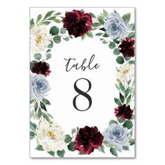 Dusty Blue and Burgundy Cranberry Fall Wedding Table Number bluecenterpieces Burgundy Wedding Flowers, Fall Wedding Colors, Floral Wedding, Spring Wedding, Boho Wedding, Card Table Wedding, Wedding Table Numbers, Wedding Tables, Wedding Signs