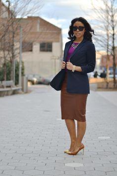 Michael Kors Blazer + Zara Faux Leather Pencil Skirt
