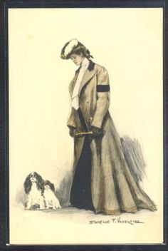 NM107-MM-VIENNE-Nr-303-a-s-CLARENCE-F-UNDERWOOD-FEMME-CHIENS-LADY-w-TWO-DOGS