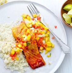quick dinner, easy dinner, fast dinner, Lent, salmon recipes, easy salmon recipes, seafood recipes, healthy dinner, pico de gallo recipes, mango salsa recipes, fruit salsa recipes, 15 minute meals, 15 minute recipes, grilling, grilled fish recipes, grilled salmon recipes Grilling Recipes, Pork Recipes, Seafood Recipes, New Recipes, Healthy Recipes, Healthy Foods, Grilled Salmon Recipes, Easy Salmon Recipes, Grilled Food