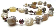 Glass Stone and Pearl Necklace  Ammonites in the Mist by nemeton