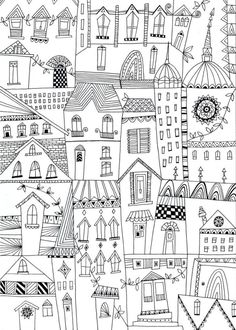 Pope Twins - Liz And Kate - Adult Colouring Buildings Sketchbook Inspiration, Bullet Journal Inspiration, Colouring Pages, Coloring Books, Overlapping Art, Hand Painted Walls, House Illustration, House Drawing, Line Drawing