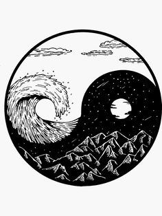 'Wave and mountains Ying-Yang' Photographic Print by termitart Arte Yin Yang, Yin Yang Art, Yin Yang Tattoos, Art Sketches, Art Drawings, Tatuagem Diy, Japon Illustration, Doodle Art, Light In The Dark