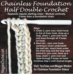 CHAIN LESS FOUNDATION HALF DOUBLE CROCHET STITCH METHOD