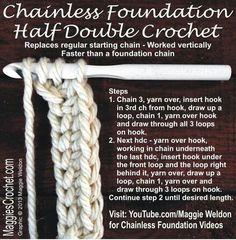 Chainless Foundation Half Double Crochet - Tutorial ❥ 4U // hf - Gerepind door www.gezinspiratie.nl