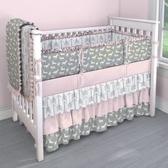Gray Deer with Pink Nursery Idea | Customizable Crib Bedding Set | Carousel Designs