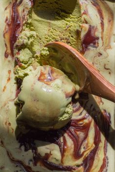 Matcha Green Tea Ice Cream with Sweet Red Bean is creamy and soft with a definite bite of matcha tea that is tempered with the sweetness of the red bean paste.