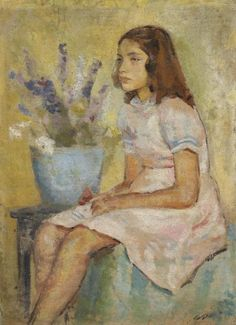 Jawad Selim (1921-1961) Portrait Of A Girl 1950 (69 by 50 cm)