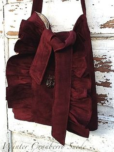 Ultra Suede Tote Rustic Ruffles Burgundy  by CamillaCotton on Etsy,