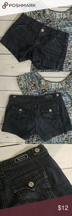 "STS Blue Denim Shorts EUC STS Blue Dark blue denim shorts Size 1 27"" waist 2.5"" inseam 99% cotton 1% spandex   DD-SH2 STS Blue Shorts Jean Shorts"