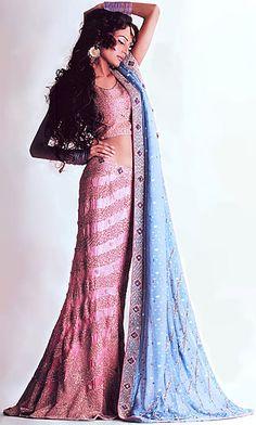 BW8037 Pink Coral & Sky blue Lehenga Pakistani & Indian Bridal, Ethnic Gharara, Choli, Lehnga Wedding Dresses Bridal Wear