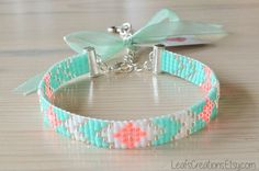 Tendance Bracelets Loom beaded bracelet Ibiza bracelet beaded bracelet with charm bead loom bracelet silver mint pink white Tendance & idée Bracelets Description Loom beaded bracelet Ibiza bracelet beaded by LeafsCreations Diy Jewelry, Beaded Jewelry, Jewelery, Handmade Jewelry, Jewelry Making, Artisan Jewelry, Bead Loom Patterns, Bracelet Patterns, Beading Patterns