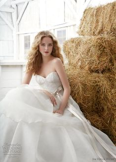 Lovely wedding dresses from Jim Hjelm Blush Spring 2012 bridal collection. Above, organza, tulle and sheen lace tiered ball gown finished with satin sash; below, modified fit-to-flare strapless gown with fleur cotton lace bodice and hand draped tissue taffeta skirt.
