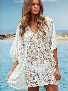 a77e76722f Beach Cover-Up Crochet Bikini Swimwear Solid Tunic Lace Sarong Swimsuit  Beach Dress Bathing Suit Cover Ups Pareo
