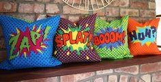 COMIC Book Pop Art Style HUH - Novelty Cushion. $73.00, via Etsy.