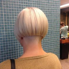 Beautiful undercut bob with shaved nape.m#undercut #bob #blond #hairbrained #hairbylizfrost #vidalsassoon