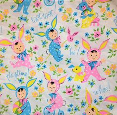 Bunny Kids   Vintage Wrapping Paper Gift by HolidayKitschklatsch, $9.50