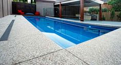 exposed aggregate around pools Pool Paving, Concrete Pool, Small Swimming Pools, Swimming Pool Designs, Exposed Aggregate Driveway, Pool Remodel, Backyard Pool Landscaping, Plunge Pool, Create