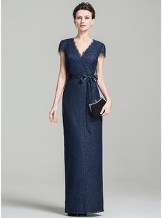 Sheath/Column V-neck Floor-Length Lace Mother of the Bride Dress With Bow(s)