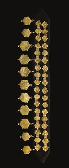 A fine and rare set of Ottoman gold and pearl inlaid bridle ornaments, Turkey, 16th century