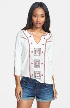 Lucky Brand Embroidered Peasant Top   Nordstrom
