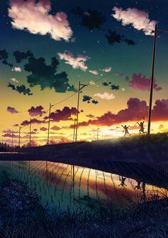 grafika anime and scenery Fantasy Landscape, Landscape Art, Fantasy Art, Japon Illustration, Digital Illustration, Art Anime, Manga Art, Anime Quotes Tumblr, Anime Body