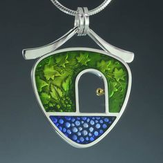 PMC sterling silver and colored epoxy resin pendant