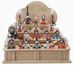 ひな人形 十五人飾 平安雛14-2号木製三段セット