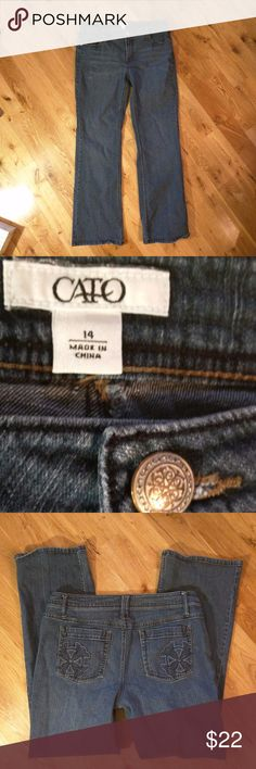 Cato Embellished Pocket Jeans Excellent condition, size 14 bootcut Cato Jeans, cute pocket embellishments.  Inseam 31 inches Cato Jeans Boot Cut