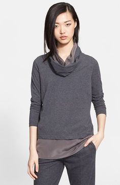 Fabiana Filippi Layered Jersey Top with Attached Infinity Scarf | Nordstrom