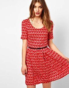 Enlarge Oasis Bird Print Skater Dress